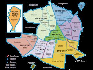plattegrond van de wijken in Hilversum